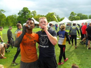 Jas & Chris at the finishing line at The Rat Race.